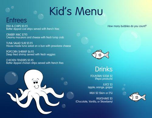 Ocean Kids Menu