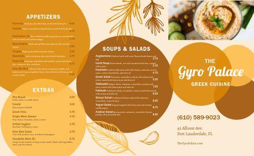 Greek Cuisine Takeout Menu