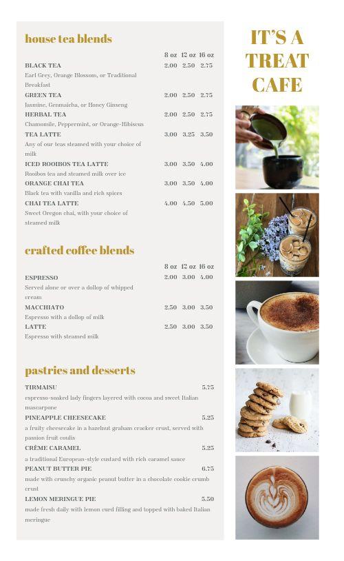 Cafe List Menu