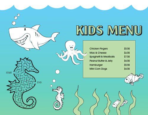 Underwater Kids Menu