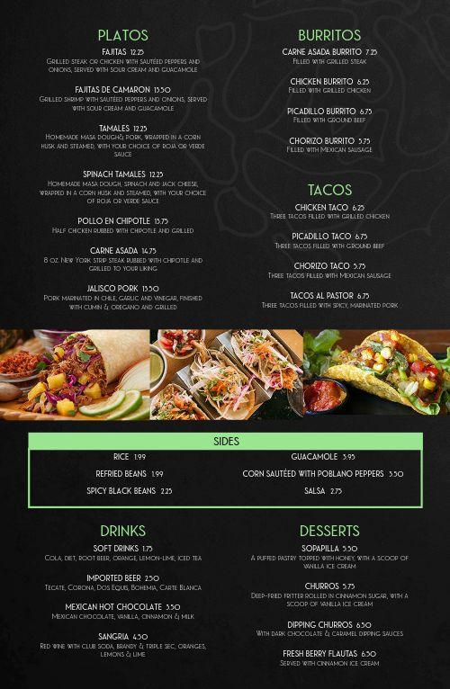 Elegant Mexican Tabloid Menu
