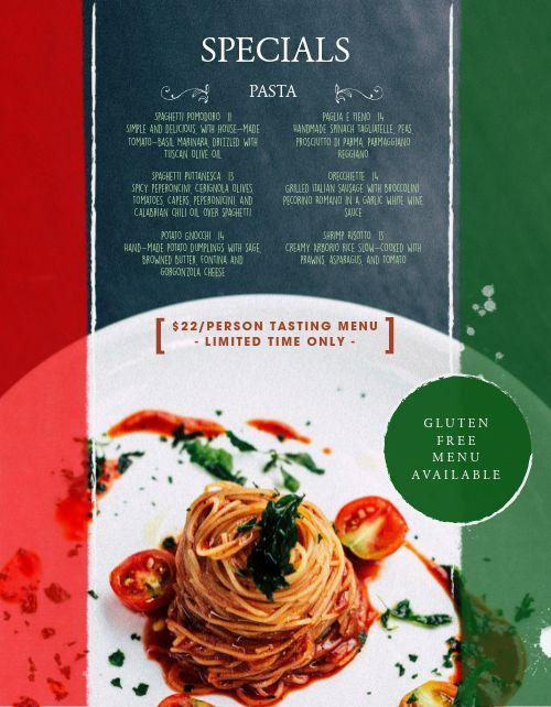 Italian National Colors Menu