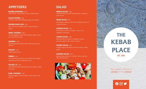 Middle Eastern Kebab Takeout Menu