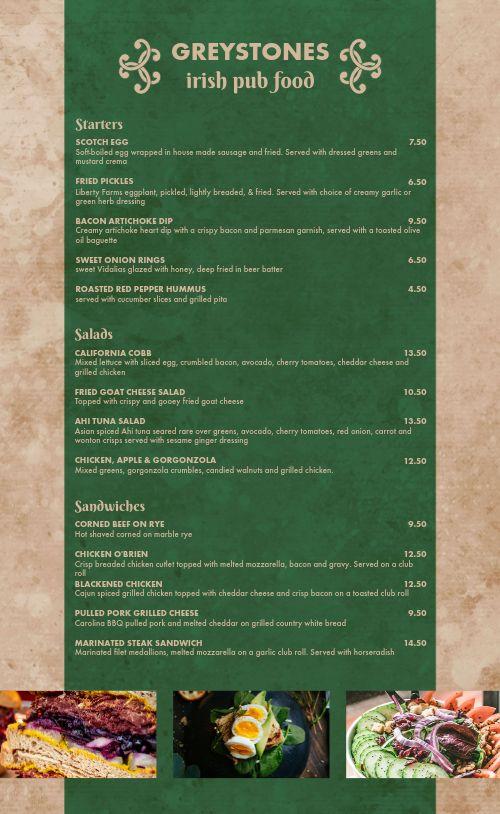 Irish Dine In Menu