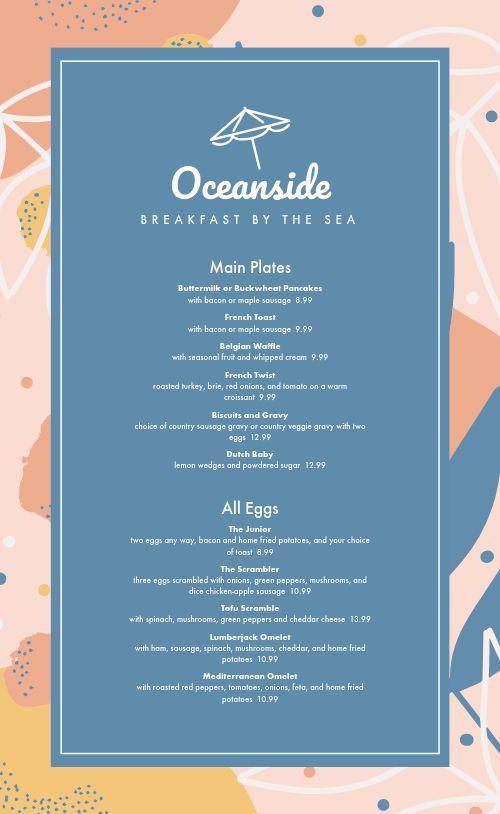 Oceanside Breakfast Menu