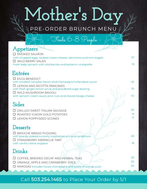 Mothers Day Preorder Menu