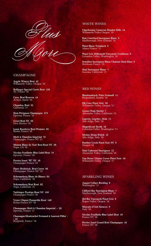 Red Wine List Menu