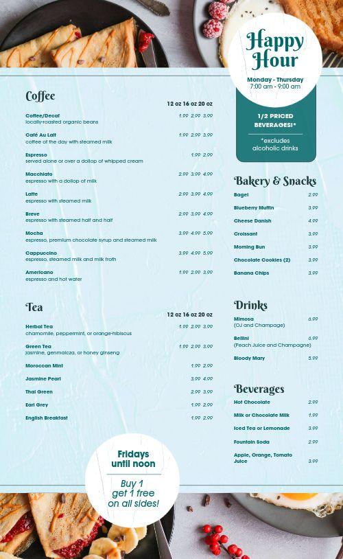 Oats Cafe Breakfast Menu