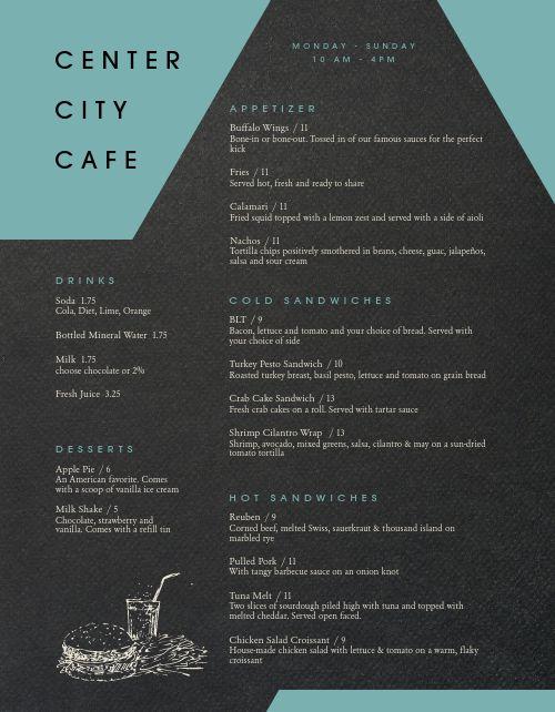 American Urban Cafe Menu