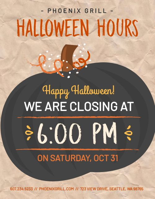 Halloween Hours Signage