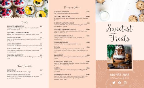 Example Bakery Takeout Menu