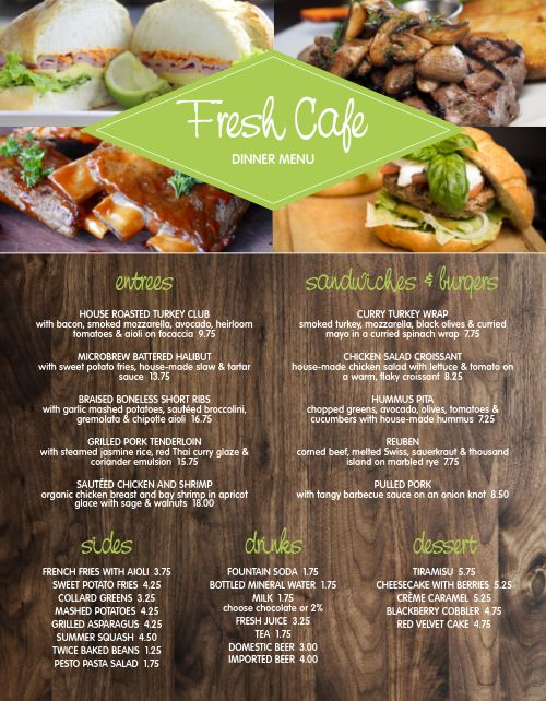 Fresh Modern Cafe Menu