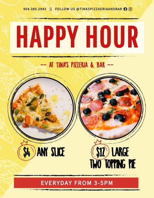 Happy Hour Pizza Flyer