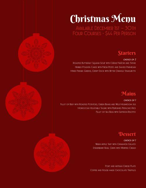 Christmas Eve Ornament Menu