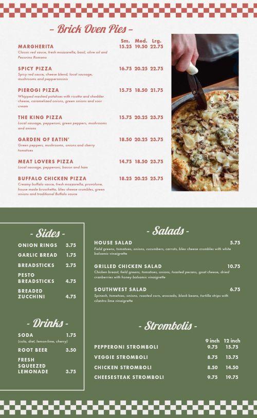 Pizzeria Bistro Menu