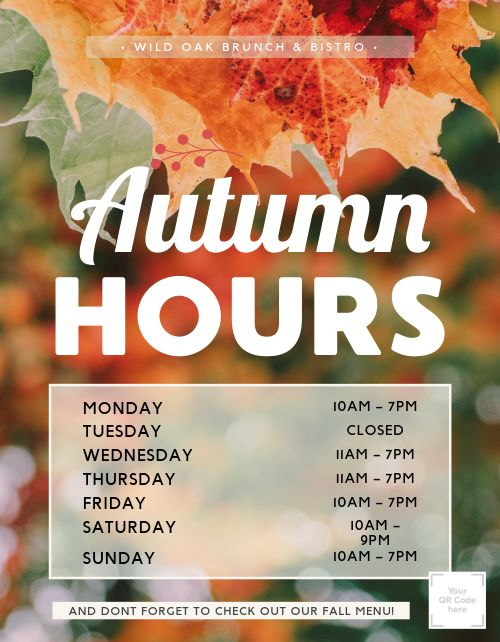 Autumn Hours Sign
