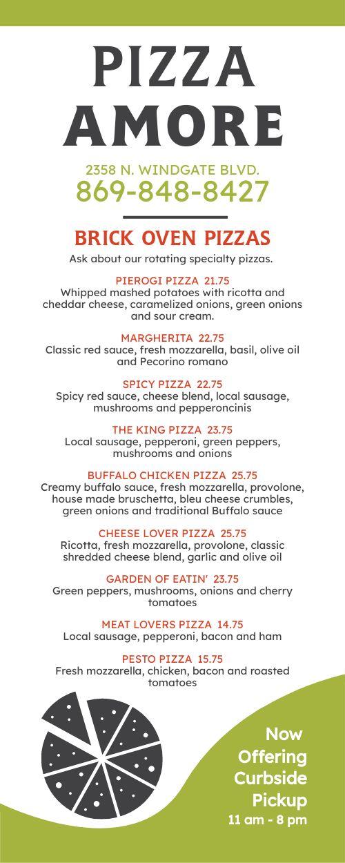 Pizza Modern Lite Takeout Menu