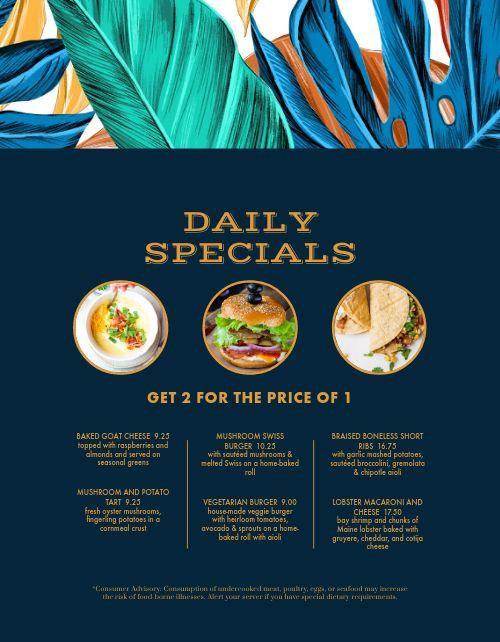 Colorful Daily Specials Menu