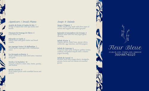 Blue Trim French Takeout Menu