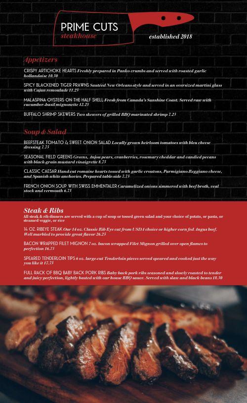Upscale Steak Menu