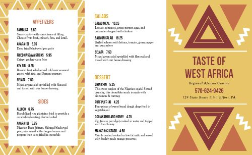 Example African Takeout Menu