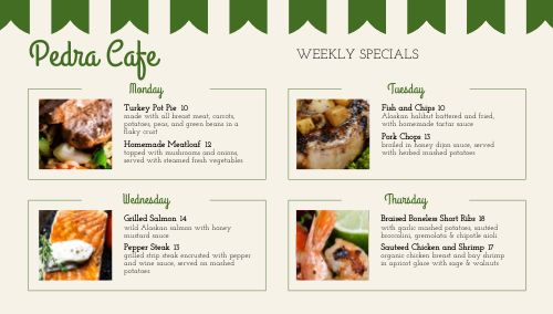 Cafe Daily Specials Digital Menu Board