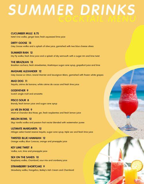 Beach Bar Menu