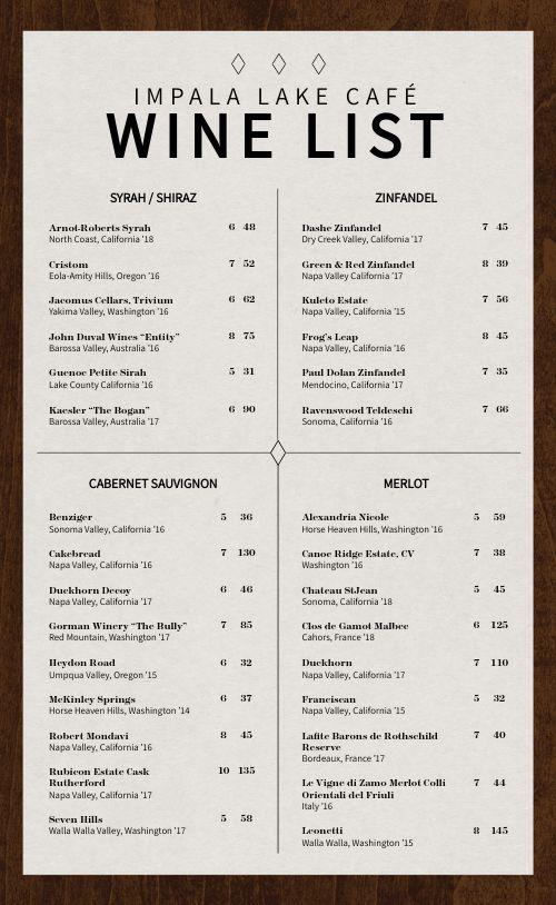 Wood Wine List Menu