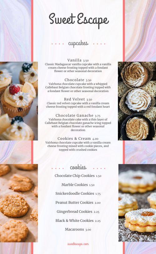 Dessert Shoppe Menu