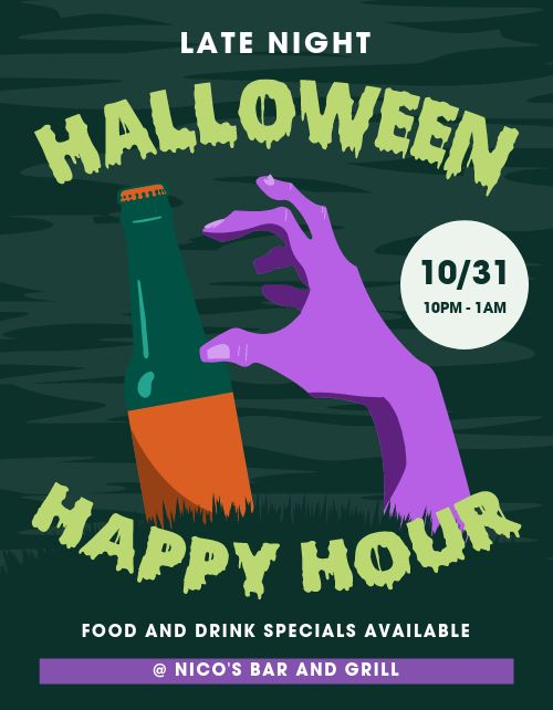 Halloween Happy Hour Signage