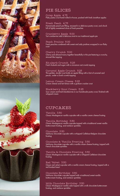Sample Dessert Menu