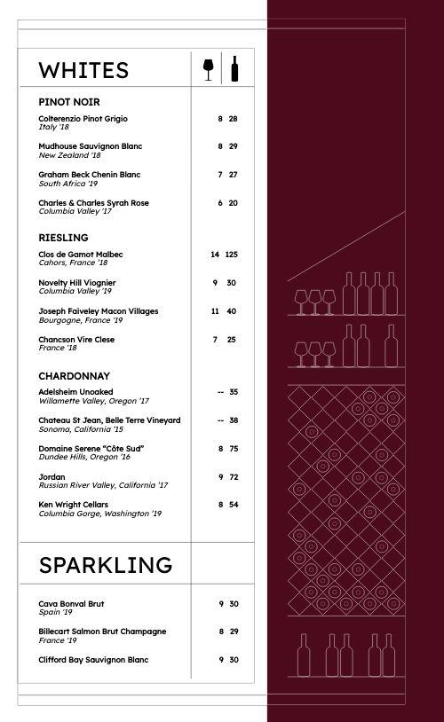 Dine In Wine List Menu
