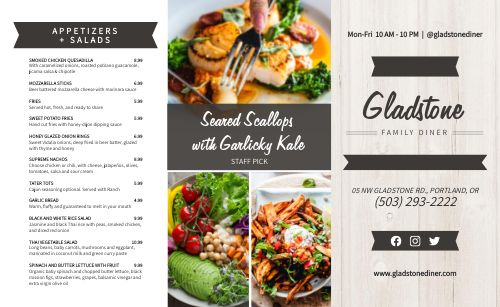 Specials Family Takeout Menu