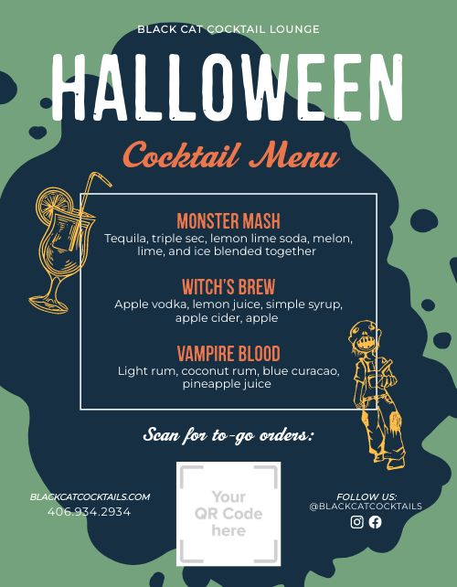 Halloween Cocktail Menu Flyer