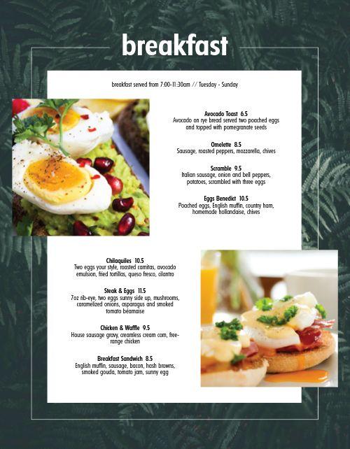 Modern Breakfast Menu