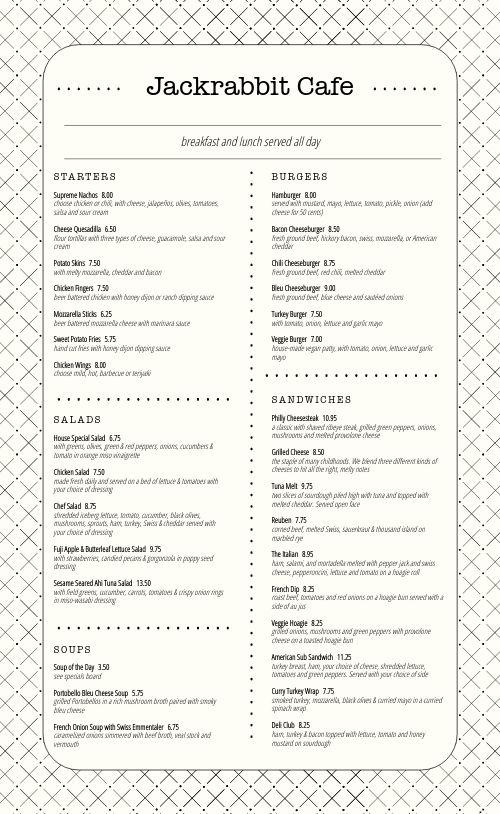 Hatchmark Cafe Menu