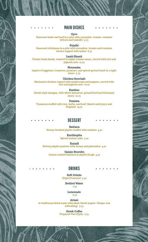 Mediterranean Restaurant Menu