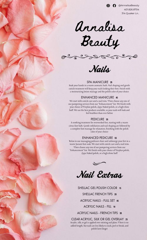 Floral Spa Menu