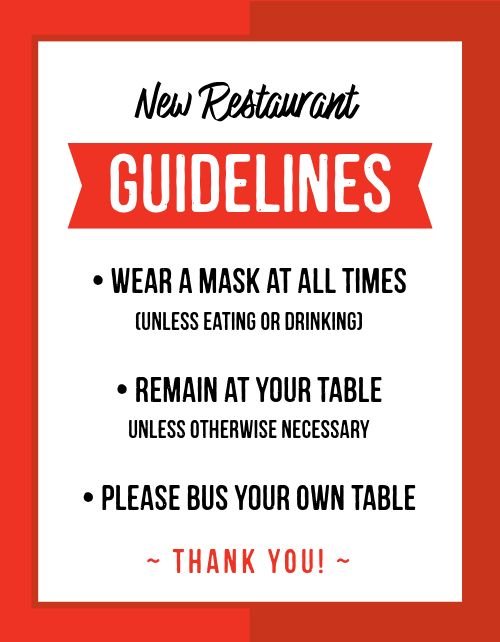 Restaurant Guidelines Sign