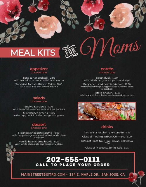 Mothers Day Specialty Menu