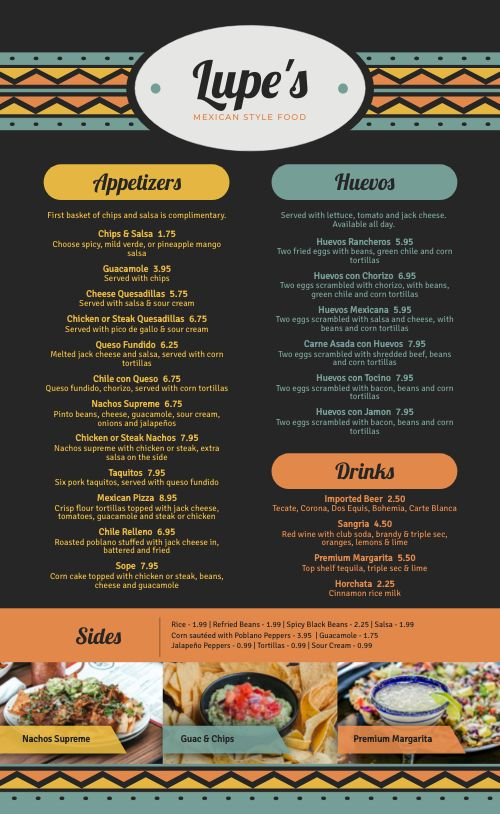 Country Mexican Menu