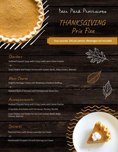 Wooden Thanksgiving Menu