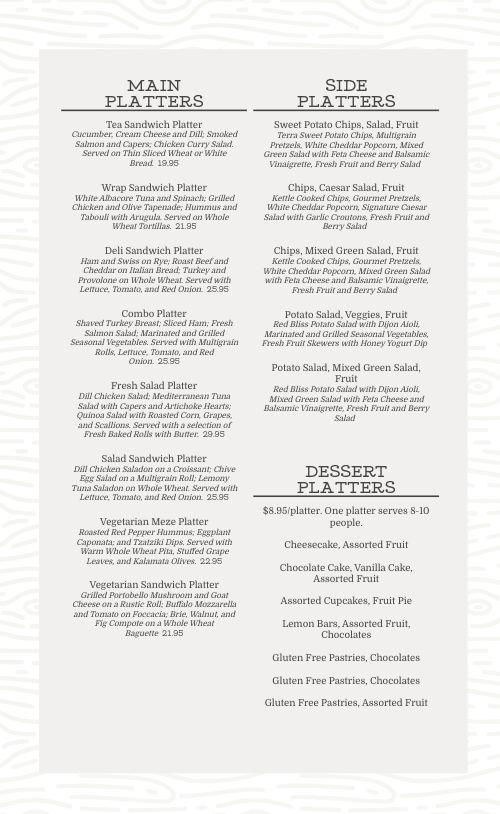 Event Catering Menu