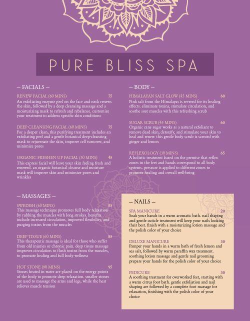 Blissful Spa Menu