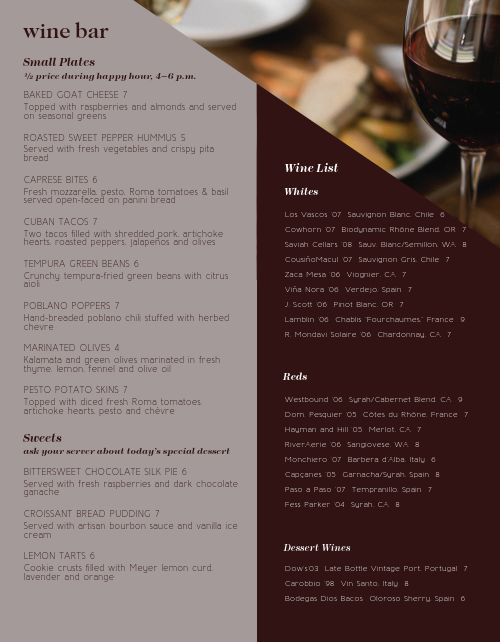 Hotel Wine Bar Menu