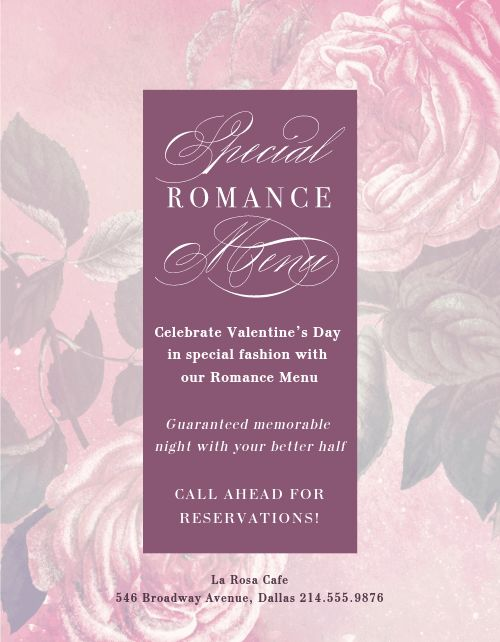 Valentines Special Menu Flyer