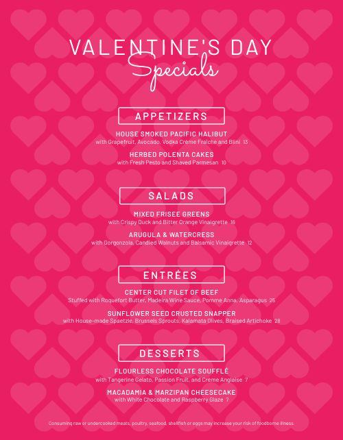 Pink Valentines Menu