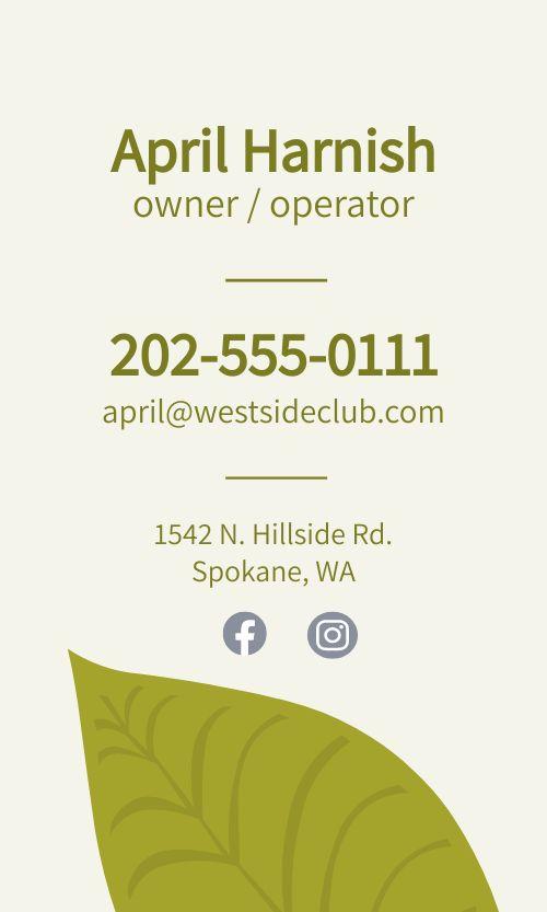 Dispensary Operator Business Card