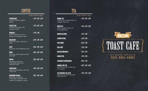 Toast Breakfast Takeout Menu
