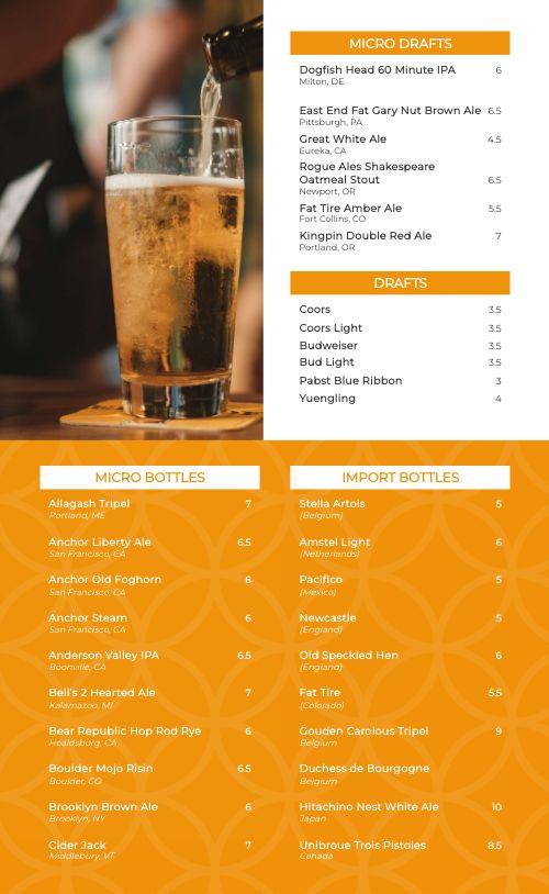 Brew Pub Beer Menu